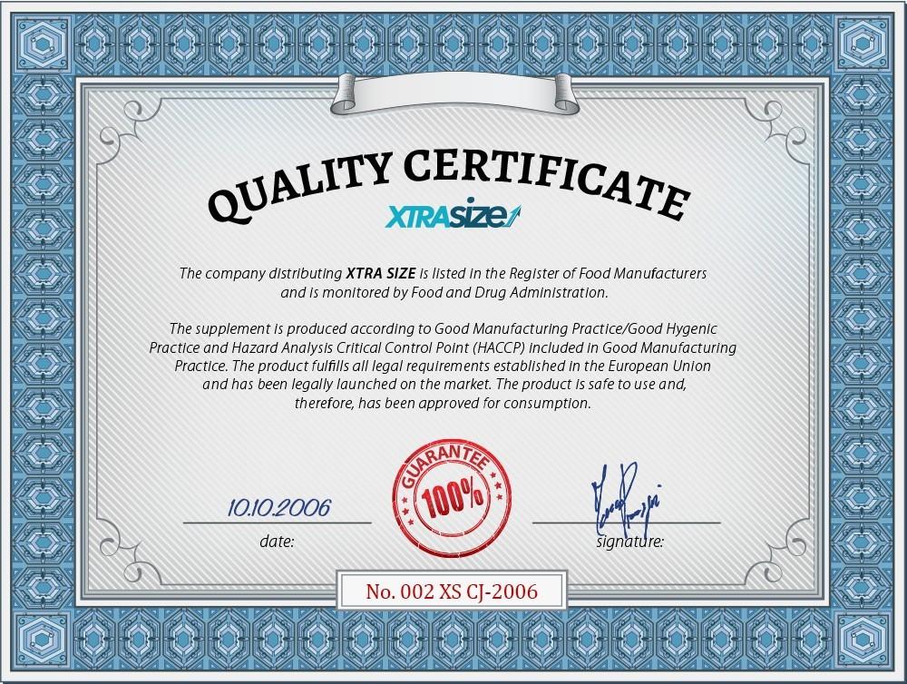 xtrasize quality certificate
